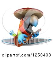 Clipart Of A 3d Mexican Macaw Parrot Surfing And Playing A Guitar Royalty Free Illustration