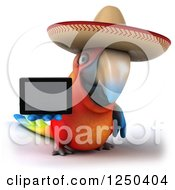 Clipart Of A 3d Mexican Macaw Parrot Holding Out A Tablet Computer Royalty Free Illustration