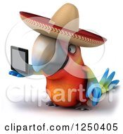 Clipart Of A 3d Mexican Macaw Parrot Holding Out A Tablet Computer 2 Royalty Free Illustration