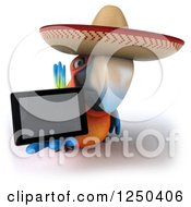 Clipart Of A 3d Mexican Macaw Parrot Holding Out A Tablet Computer 3 Royalty Free Illustration