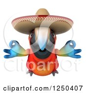 Clipart Of A 3d Zen Mexican Macaw Parrot Flying Royalty Free Illustration