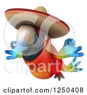 Clipart Of A 3d Zen Mexican Macaw Parrot Flying 2 Royalty Free Illustration