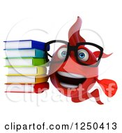 Clipart Of A 3d Bespectacled Red Fish Holding A Stack Of Books Royalty Free Illustration