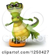 Clipart Of A 3d Bespectacled Crocodile Balancing On A Scale Royalty Free Illustration