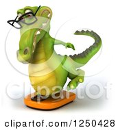 Clipart Of A 3d Bespectacled Crocodile Balancing On A Scale 2 Royalty Free Illustration