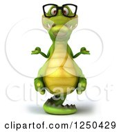 Clipart Of A 3d Bespectacled Meditating Crocodile Balancing On His Tail Royalty Free Illustration