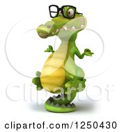 Clipart Of A 3d Bespectacled Meditating Crocodile Balancing On His Tail 2 Royalty Free Illustration