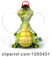 Clipart Of A 3d Crocodile Wearing A Baseball Cap Royalty Free Illustration
