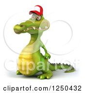 Clipart Of A 3d Crocodile Wearing A Baseball Cap 2 Royalty Free Illustration