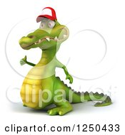 Clipart Of A 3d Crocodile Wearing A Baseball Cap And Giving A Thumb Up 2 Royalty Free Illustration
