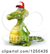 Clipart Of A 3d Crocodile Wearing A Baseball Cap And Facing Left Royalty Free Illustration