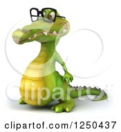 Clipart Of A 3d Bespectacled Crocodile Facing Left Royalty Free Illustration