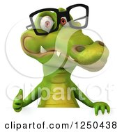 Clipart Of A 3d Bespectacled Crocodile Giving A Thumb Up Over A Sign Royalty Free Illustration
