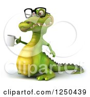 Clipart Of A 3d Bespectacled Crocodile Holding Up A Coffee Mug 2 Royalty Free Illustration