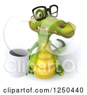 Clipart Of A 3d Bespectacled Crocodile Holding Up A Coffee Mug Royalty Free Illustration