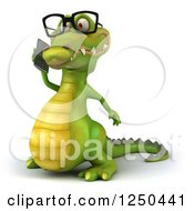 Clipart Of A 3d Bespectacled Crocodile Talking On A Cell Phone Royalty Free Illustration
