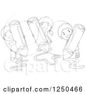 Clipart Of Black And White Happy Children Using Giant Crayons Royalty Free Vector Illustration