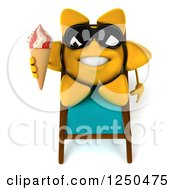 Clipart Of A 3d Sun Wearing Shades And Holding An Ice Cream Cone On A Chaise Lounge 3 Royalty Free Illustration