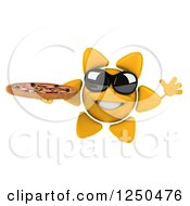 Clipart Of A 3d Sun Wearing Shades And Holding A Pizza 3 Royalty Free Illustration
