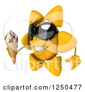 Clipart Of A 3d Sun Wearing Shades And Holding An Ice Cream Cone 3 Royalty Free Illustration