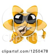 Clipart Of A 3d Sun Wearing Shades And Eating An Ice Cream Cone Royalty Free Illustration