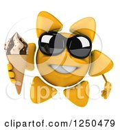 Clipart Of A 3d Sun Wearing Shades And Holding An Ice Cream Cone 2 Royalty Free Illustration