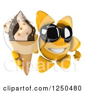 Clipart Of A 3d Sun Wearing Shades And Holding Up An Ice Cream Cone Royalty Free Illustration