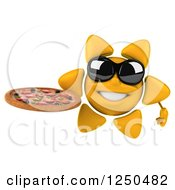 Clipart Of A 3d Sun Wearing Shades And Holding A Pizza Royalty Free Illustration