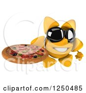 Clipart Of A 3d Sun Wearing Shades And Holding A Pizza 2 Royalty Free Illustration