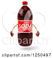 Clipart Of A 3d Soda Bottle Mascot Royalty Free Illustration