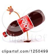 Clipart Of A 3d Soda Bottle Mascot Cartwheeling Royalty Free Illustration