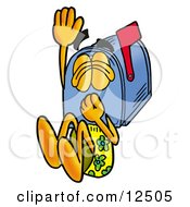 Blue Postal Mailbox Cartoon Character Plugging His Nose While Jumping Into Water