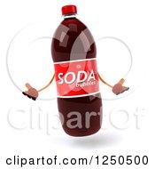 Clipart Of A 3d Soda Bottle Mascot Shrugging Royalty Free Illustration