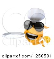 Clipart Of A 3d Chef Goldfish Wearing Sunglasses And Holding A Plate Royalty Free Illustration