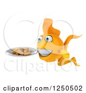 Clipart Of A 3d Goldfish Holding A Plate With Chips Fries 2 Royalty Free Illustration