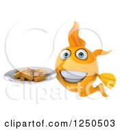 Clipart Of A 3d Goldfish Holding A Plate With Chips Fries Royalty Free Illustration