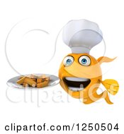 Clipart Of A 3d Chef Goldfish Holding A Plate With Chips Fries Royalty Free Illustration