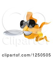 Clipart Of A 3d Goldfish Wearing Sunglasses And Holding A Plate Royalty Free Illustration