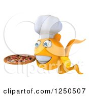 Clipart Of A 3d Chef Goldfish Holding A Pizza 2 Royalty Free Illustration
