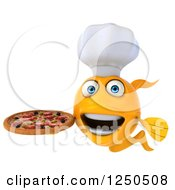 Clipart Of A 3d Chef Goldfish Holding A Pizza 3 Royalty Free Illustration