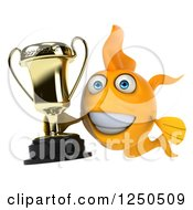 Clipart Of A 3d Goldfish Holding A Trophy Royalty Free Illustration