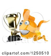 Clipart Of A 3d Goldfish Holding A Trophy 2 Royalty Free Illustration