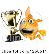 Clipart Of A 3d Goldfish Holding A Trophy 3 Royalty Free Illustration