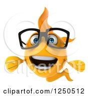 Clipart Of A 3d Happy Bespectacled Goldfish Royalty Free Illustration