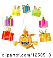 Clipart Of A 3d Goldfish Juggling Gifts Royalty Free Illustration