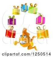 Clipart Of A 3d Goldfish Juggling Gifts 2 Royalty Free Illustration