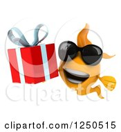 Clipart Of A 3d Goldfish Wearing Sunglasses And Holding A Gift Royalty Free Illustration