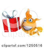 Clipart Of A 3d Goldfish Holding A Gift Royalty Free Illustration