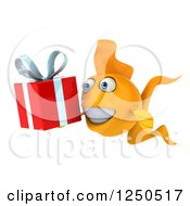 Clipart Of A 3d Goldfish Holding A Gift 2 Royalty Free Illustration