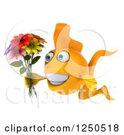 Clipart Of A 3d Goldfish Holding A Bouquet Of Flowers Royalty Free Illustration